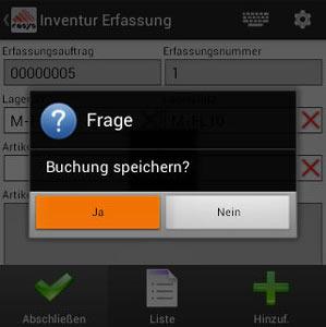 Inventur Abschließen Android Software von COSYS