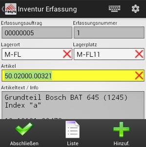 Inventur Artikelerfassung Android Software von COSYS