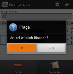 Inventur Artikelposition löschen Android Software von COSYS