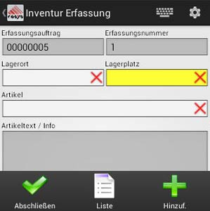 Inventur Erfassungsauftrag Android Software von COSYS
