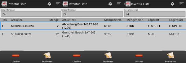 Inventur Liste Android Software von COSYS