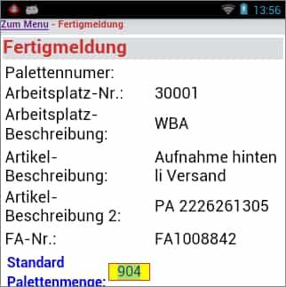 Produktionsauftrag Palettenmenge Android Software von COSYS