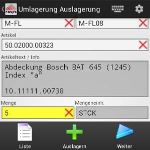 Umlagerung Artikel Android App von COSYS