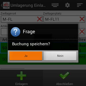 Umlagerung Buchung speichern Android App von COSYS