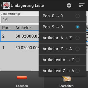 Umlagerung Optionsmenü Android Software von COSYS