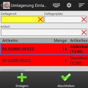 Umlagerung Ziellagerort Android App von COSYS