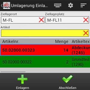 Umlagerung Ziellagerplatz Android App von COSYS