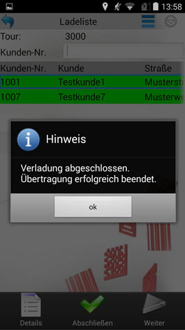 Verladung / Beladung Verladeabschluss Android Software von COSYS