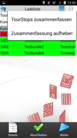 Verladung / Beladung Aktionen Tourstopebene Android Software von COSYS