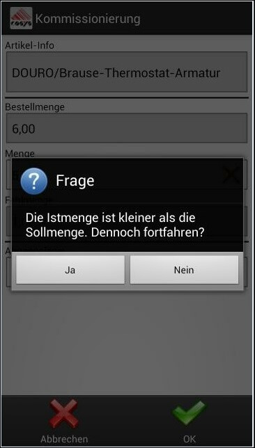 COSYS Android Kommissionierung